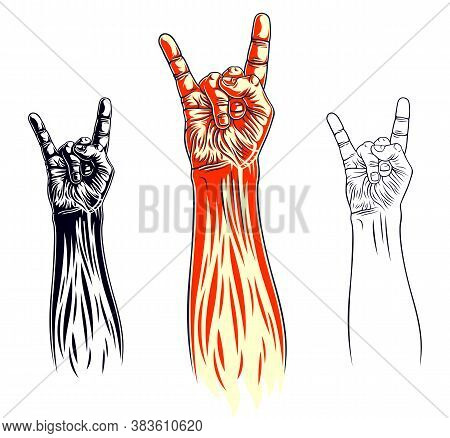 Rock Hand Sign, Hot Music Rock And Roll Gesture, Hard Rock Festival Concert Or Club, Vector Label Em