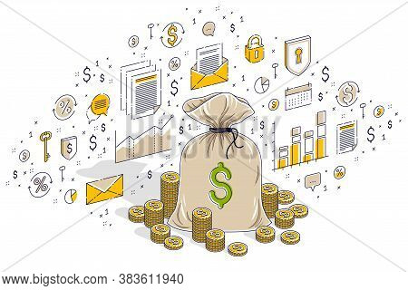 Money Bag With Cash Money Dollar Stacks And Coins Piles Isolated On White, Personal Savings Concept.