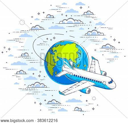 Plane Airliner With Earth Planet In The Sky Surrounded By Clouds, Airlines Air Travel Illustration.