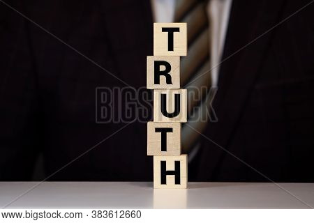 Truth Word Background On Wood Blocks. Concept