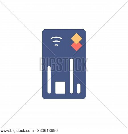 Credit Card Flat Isolated Icon. Online Payment Sign. Tap And Go Concept. Online Banking Shopping Ele