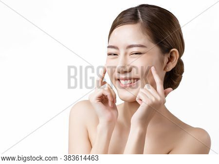 Asia Woman Happy With Healthy Skin, Good Complexion In White Background With Copy Space, Concept Cos