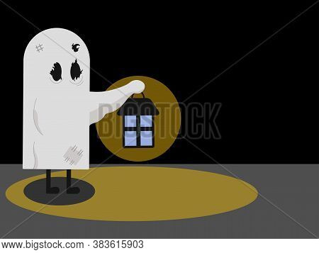Illustration Of Someone Disguised As A Ghost Holding Up A Lighted Lamp With Light On It And On The F