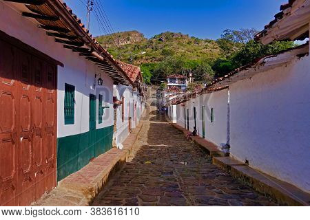Guane, Colombia, 01.12.2019, A Flagged Street In The Village Of Guane In Colombia.