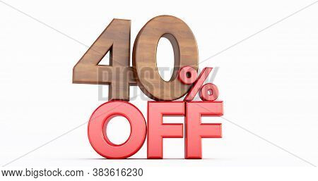 40% Off. Wooden Forty Percent. Wooden Forty Percent On White Background. 3d Render.