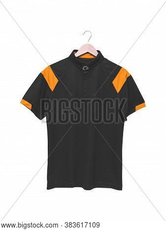 Black Blank Polo Shirt Isolated On White Background.