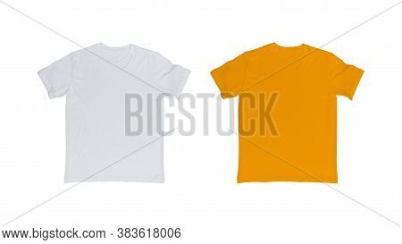 White And Yellow T-shirt Isolated On White Background.