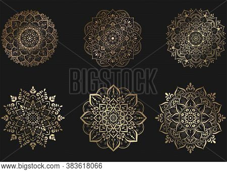 Set Of Gold Mandala With Floral Ornament Pattern,vector Mandala Relaxation Patterns Unique Design Wi