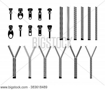 Zipper Silhouettes Flat Pattern Set. Black Zip Pulls Isolated On White Background Vector Illustratio