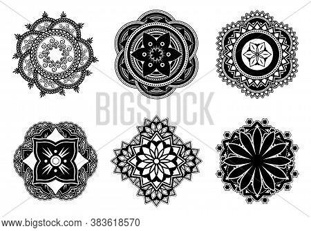 Mehndi Or Mehendi Flower Flat Pattern Set. Decorative Abstract Mandala Symbols For Tattoo Vector Ill