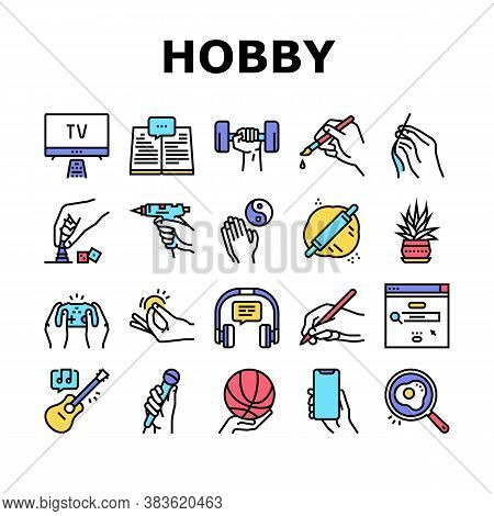 Hobby Leisure Time Collection Icons Set Vector. Watching Tv And Playing Video Game, Play On Guitar A