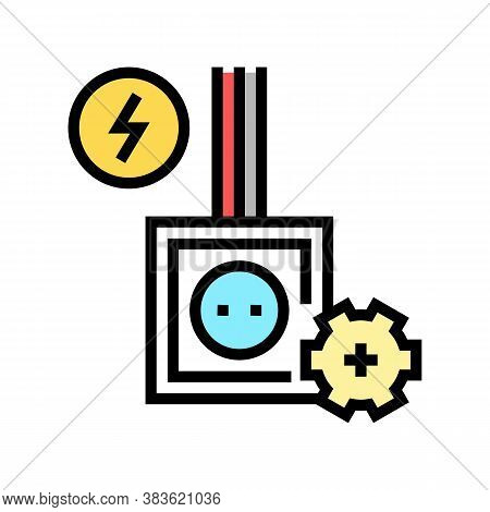 Socket Installation Color Icon Vector. Socket Installation Sign. Isolated Symbol Illustration