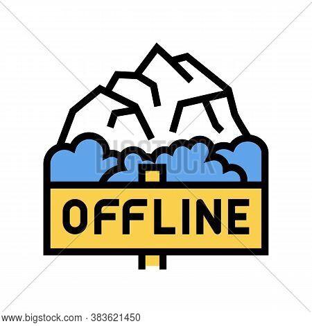 Offline Mountain Travel Color Icon Vector. Offline Mountain Travel Sign. Isolated Symbol Illustratio