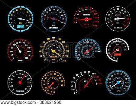 Car Speedometer Vector Icons Of Dashboard Speed Meters. Gauges Of Auto Motor Vehicle Instrument Pane