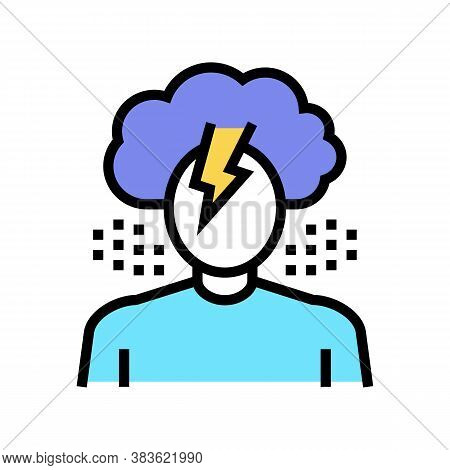 Depression Psychological Problems Color Icon Vector. Depression Psychological Problems Sign. Isolate