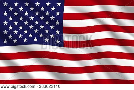 Flag Of Usa Or United States Of America Vector Background. American National Banner Of Stars And Str