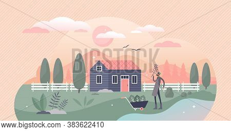Homesteading As Local Agriculture And Self Sufficient Food Lifestyle Tiny Persons Concept. Farming I