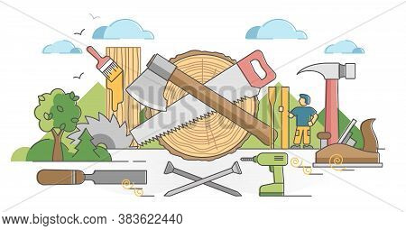 Woodworking Process And Carpentry Craftsman Occupation Scene Outline Concept. Professional Wood Mate