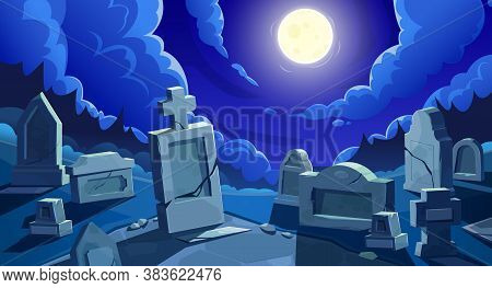 Cemetery At Night With Full Moon, Vector Graveyard With Tombstones And Cracked Stone Crosses. Old Cr