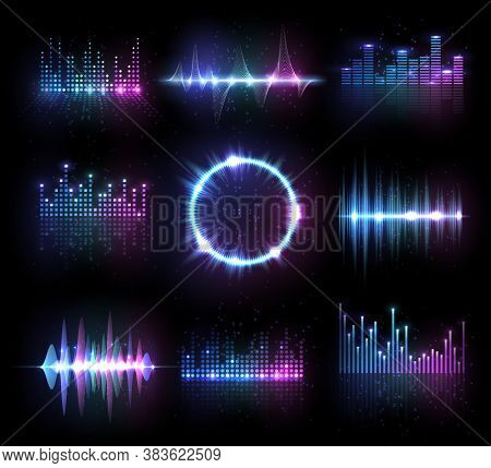 Music Equalizers, Isolated Vector Audio Or Radio Waves, Sound Frequency Lines And Circle. Digital Pl