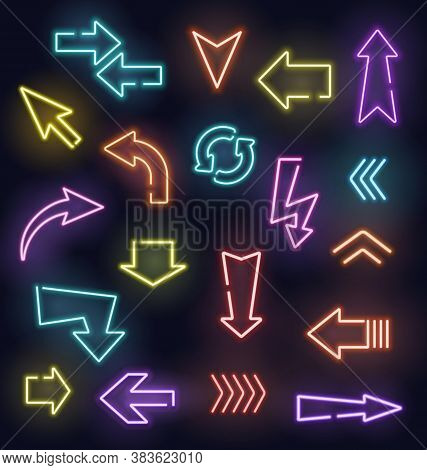 Neon Arrow Vector Signs Of Glowing Light Pointers. Red, Blue, Yellow And Purple Arrow Pointers, Stre