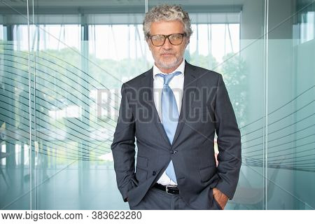 Experienced Grey-haired Businessman Standing And Looking At Camera. Caucasian Professional Senior Ex