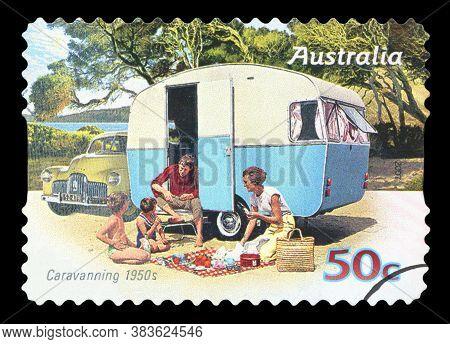 Australia - Circa 2007: A Stamp Printed In Australia Shows Family Enjoying A Caravan, Caravanning To