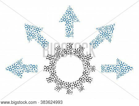 Vector Gearwheel Distribution Collage Is Formed From Scattered Self Gearwheel Distribution Items. Fr