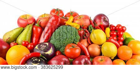 Delicious vegetables and fruits isolated on white background.