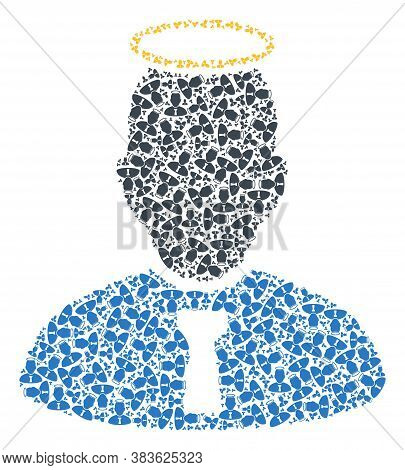 Vector Holy Person Mosaic Is Formed With Random Recursive Holy Person Elements. Recursive Mosaic Of