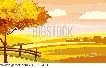 Autumn Landscape Rural Hills Meadows Fields Countryside. Yellow Orange Foliage Tree Panorama Horizon