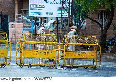 Jodhpur, Rajashtbn, India. 30 March 2020. Police Wearing Mask Standing To Stop People, Coronavirus,