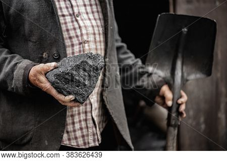 Early Mining Equipment, Hammer, Pickaxe And Shovel For Underground Coal Miner