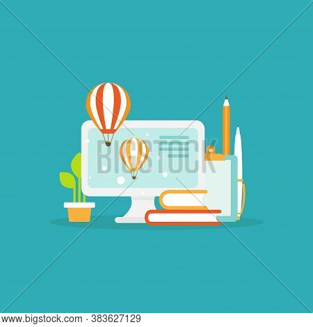Workplace With Computer Screen, Hot Air Ballons, Books And Blocknote. Workplace Isolated On Blue Bac