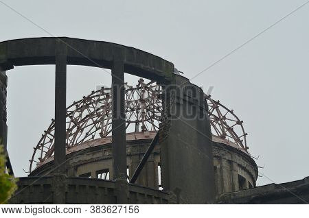 A Close-up Of The A-dome In Hiroshima, Often Called The Peace Dome Or Genbaku Dome. The Sky Is Overc