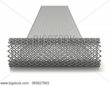 Unrolling Of Wire Chain Link Mesh On White Background - 3d Illustration