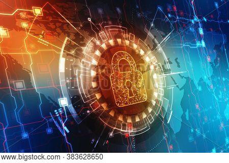 Closed Padlock On Digital Background, Technology Security Concept. Modern Safety Digital Background.
