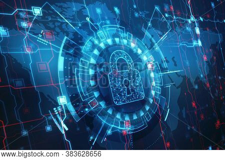 Closed Padlock On Digital Background, Technology Security Concept. Modern Safety Digital Background.
