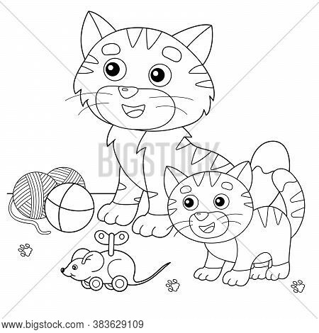 Coloring Page Outline Of Cartoon Cat With Kitten And With Toys. Pets. Coloring Book For Kids.