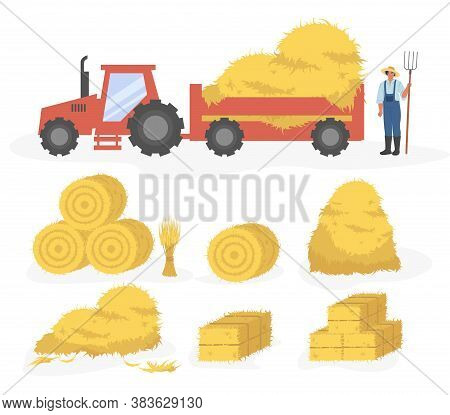 Tractor With Hay Cartoon Illustration. Vector Set Of Hay Icons Set Isolated On White Background. Str
