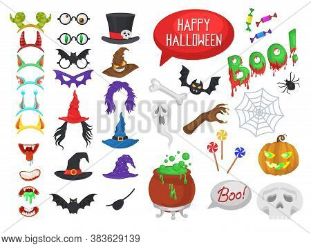 Vector Set Of Halloween Party Photo Booth Props And Masks. Halloween Stickers. Icons Set Illustratio