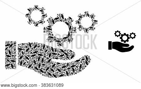 Vector Cogs Service Hand Collage Is Created Of Random Recursive Cogs Service Hand Parts. Recursive M