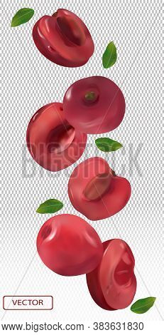 Cherry Falling From Different Angles. Flying Cherry With Green Leaf On Transparent Background. 3d Re