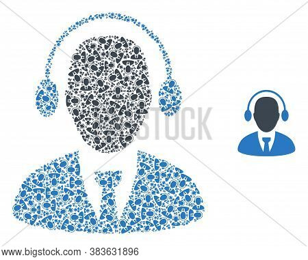 Vector Call Center Agent Collage Is Done Of Randomized Self Call Center Agent Elements. Fractal Coll