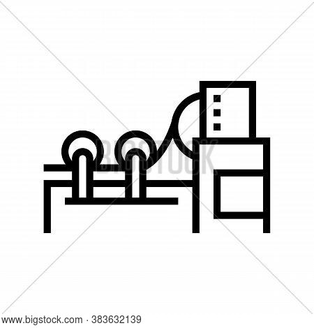 Paper Rolling System Line Icon Vector. Paper Rolling System Sign. Isolated Contour Symbol Black Illu