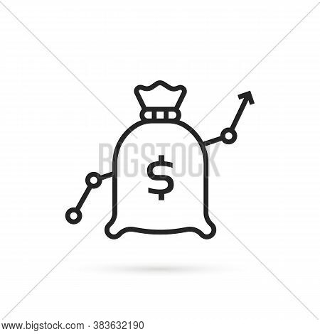 Forecast Of Increase With Linear Bag. Flat Stroke Minimal Moneybag Logotype Graphic Lineart Design A