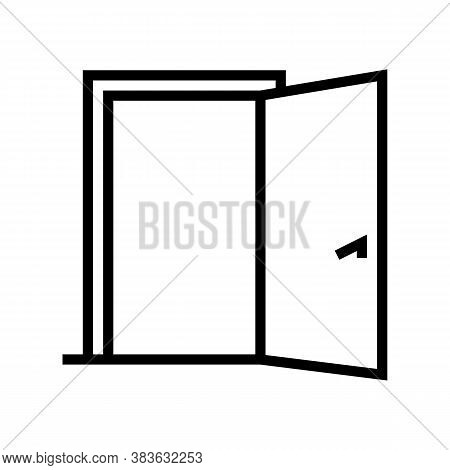 Inside Opened Door Line Icon Vector. Inside Opened Door Sign. Isolated Contour Symbol Black Illustra