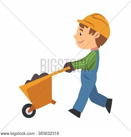 Boy Construction Worker With Wheelbarrow, Cute Little Builder Character Wearing Blue Overalls And Ha