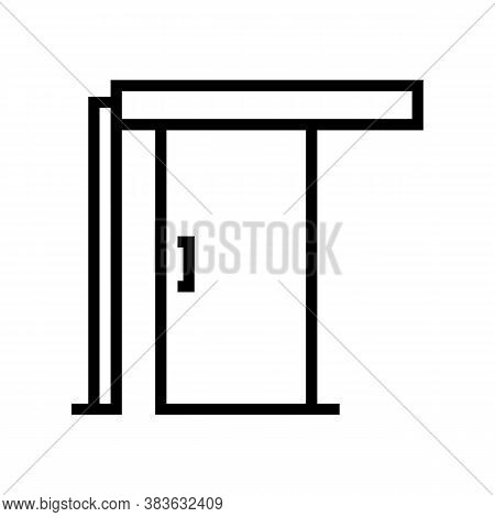 Sliding Door Line Icon Vector. Sliding Door Sign. Isolated Contour Symbol Black Illustration