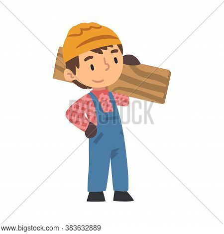 Boy Construction Worker Carrying Wooden Plank, Cute Little Builder Character Wearing Blue Overalls A